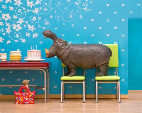 The Hippo Kitchen hippo diorama retro kitchen birthday cake by storiesfortoys