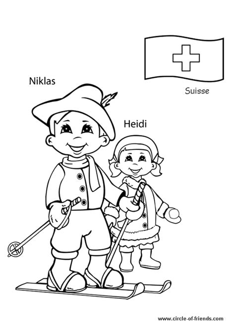 Coloriage Enfant Suisse Sur Hugolescargot Com Printable Coloring Pages Around The World