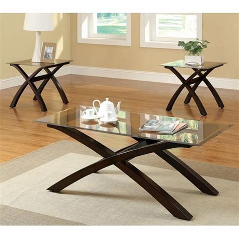 Glass Coffee Table Set Coaster 701610 Brown Glass Coffee Table Set A Sofa Furniture Outlet Los Angeles Ca