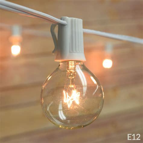 patio string lights white cord 10 socket outdoor patio string light set g40 globe bulbs