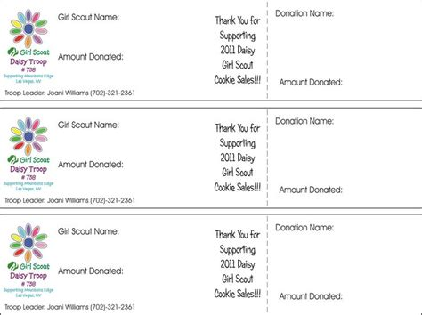 scout cookie sales receipt template free scout nut sale thank you scout cookie