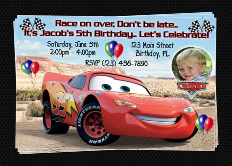 Cars Invitation Cards Templates by Custom Cars Inspired Birthday Invitations Diy