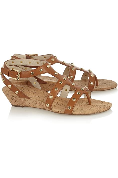 mk wedge sandals michael michael kors studded leather wedge sandals