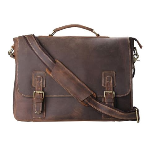 best mens leather briefcase kattee mens top layer real cow leather shoulder briefcase