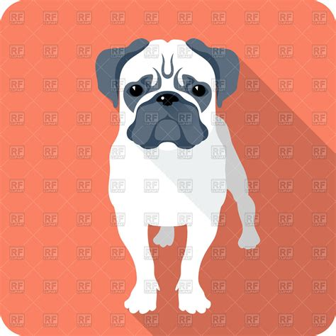 pug vector free pug in flat design royalty free vector clip image 43627 rfclipart