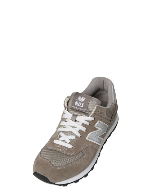 New Balance Silver Brown new balance 574 mesh suede sneakers in brown lyst