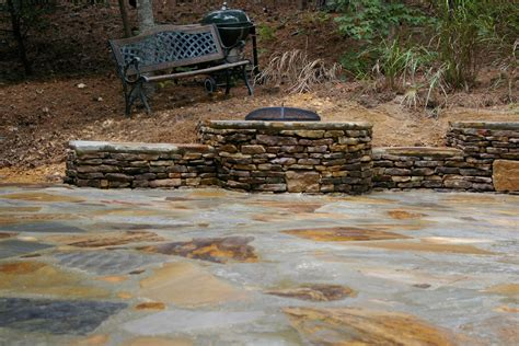 backyard stone fire pit stone patio and fire pit