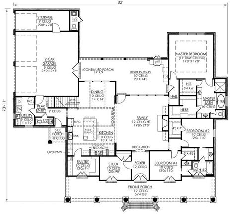 1 story house plans southern style house plans 2674 square foot home 1 story 4 bedroom and 2 3 bath 2 garage