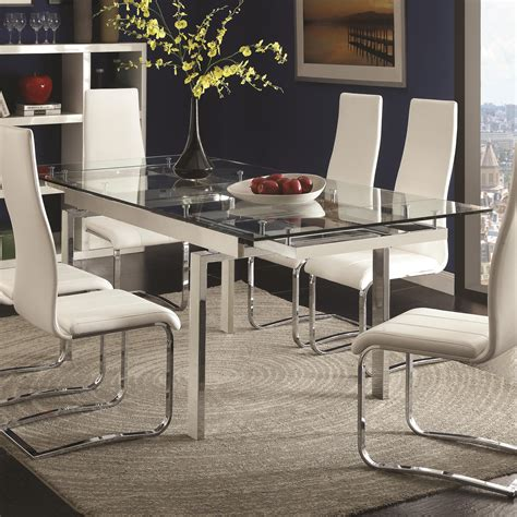 coaster dining room table coaster modern dining 106281 contemporary glass dining