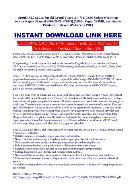 car repair manual download 2008 suzuki xl 7 seat position control suzuki xl7 workshop service repair manual 2007 2009 by dalire vorrax issuu