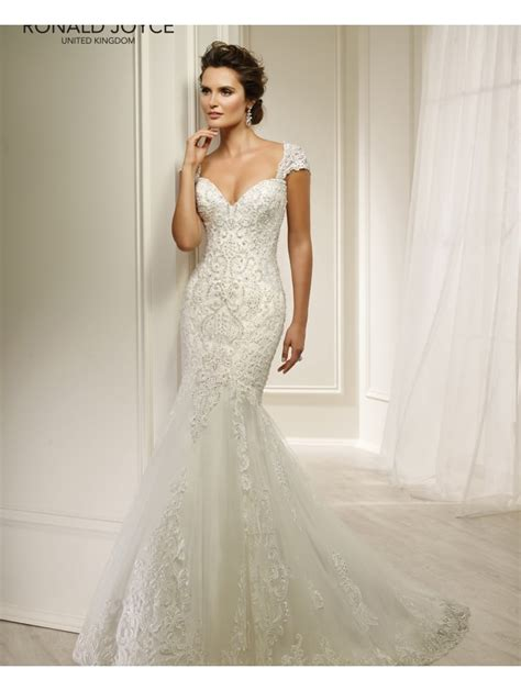 beaded bridal gown ronald joyce 69215 helaine lace beaded fit and flare