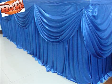 5 16ftx29 blue silk table skirting with swag for wedding banquet free shipping in table skirt