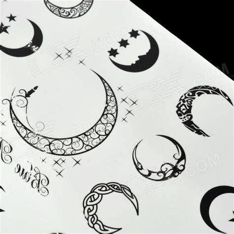 pattern moon tattoo moon pattern tattoo paper sticker black white