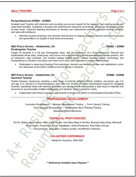 the following sle resume for a preschool is