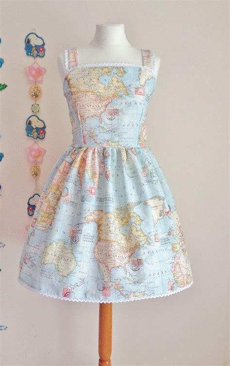 world map print lolita otome casual jsk jumperskirt dress