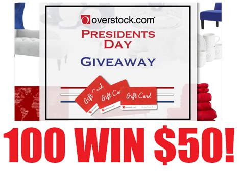 Overstock Sweepstakes 2017 - 50 overstock com gift card giveaway 100 winners 1 entry ends midnight tonight