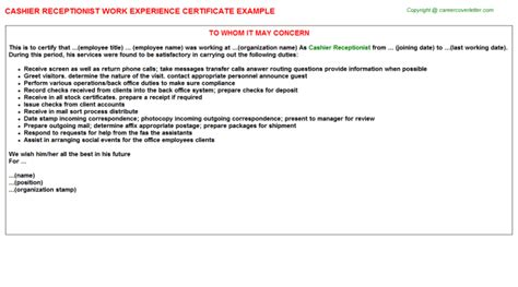 cover letter for cashier receptionist cashier receptionist work experience certificate cv15339