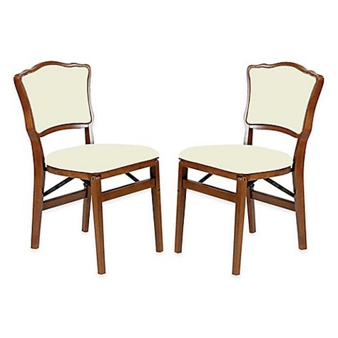 Folding Dining Chairs Padded Buy Stakmore Padded Back Wood Folding Chairs In Fruitwood Set Of 2 From Bed Bath Beyond