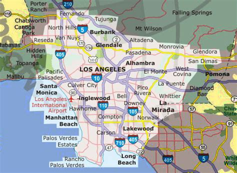 towns near me los angeles map and surrounding areas