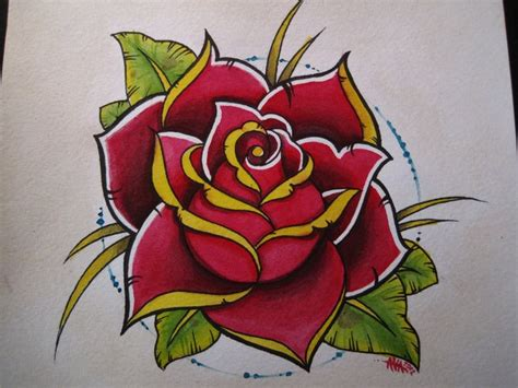 oldschool rose tattoo new school tattoos sleeve schools