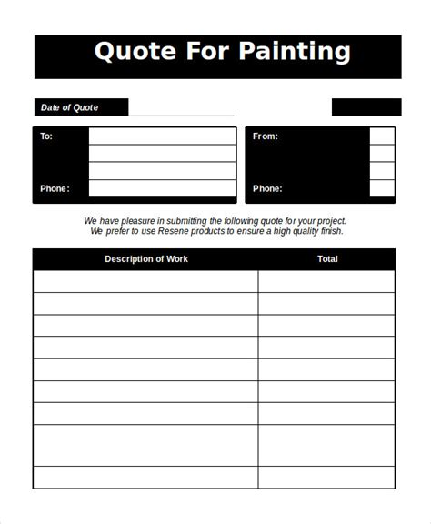 free painting templates word estimate template 5 free word documents