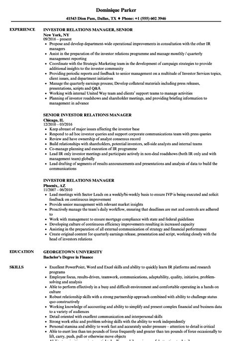 investor relations manager resume sle ideas