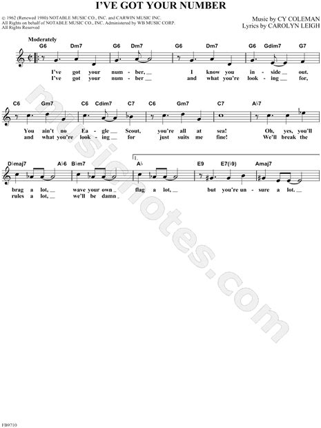 """""""I've Got Your Number"""" from 'Little Me' Sheet Music"""