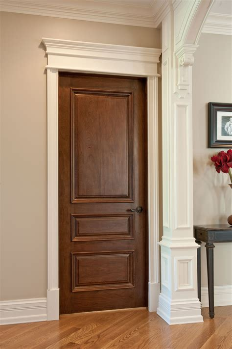 Traditional Interior Doors Interior Door Custom Single Solid Wood With Walnut Finish Classic Model Dbi 611