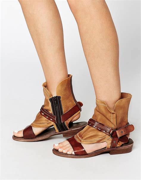 free free cut out leather boot flat sandal