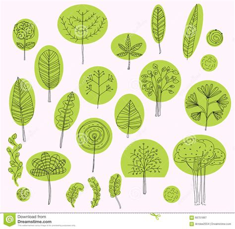 nature element pattern set of vector trees symbols sketch of tree pattern for