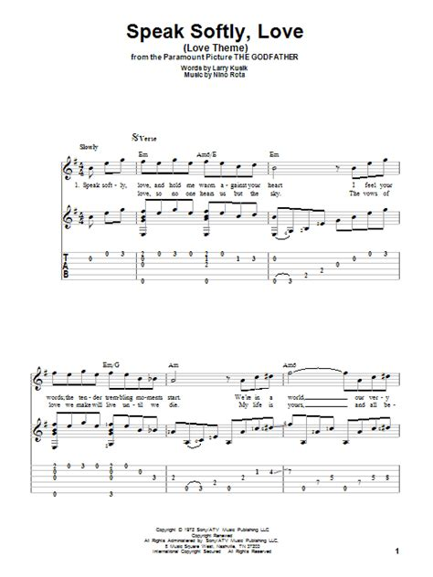 mohabbatein love themes guitar tabs speak softly love love theme guitar tab by andy