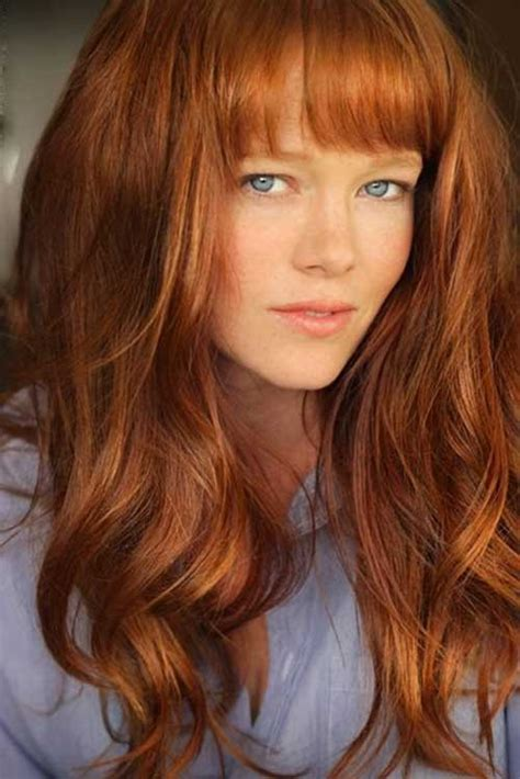 pictures of copper colored hair 30 best curly hair with bangs hairstyles haircuts 2016