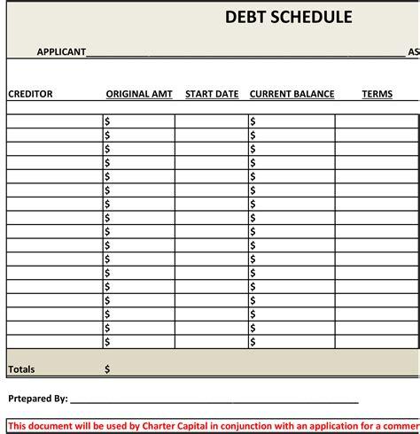 Debt Schedule Template Debt Schedule Charter Capital