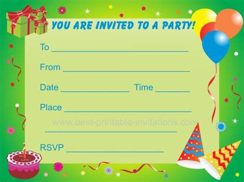printable children s invitation cards birthday party invitations for kids