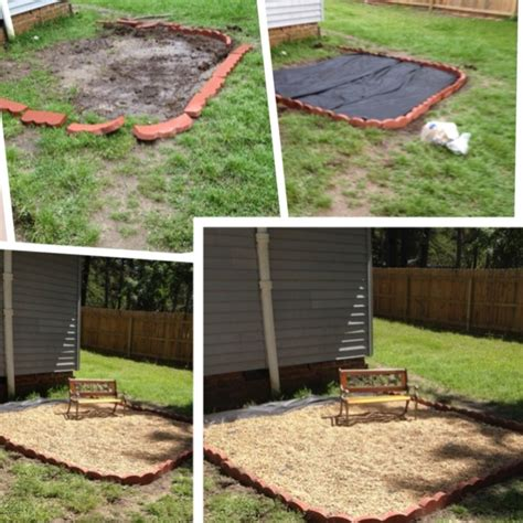 dirt backyard ideas dirt pit to pea gravel patio not quite finished yet i