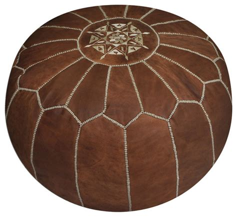 moroccan leather pouf ottoman footstool moroccan leather pouf tan footstools and ottomans by