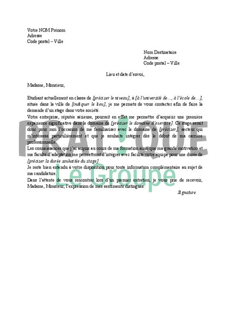Exemple De Lettre De Motivation Pour Un Stage A L Hopital lettre de motivation pour un stage pratique fr