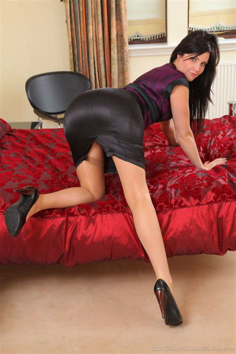 gallery stocking chloe j teases her way out of her silk and satin secretary