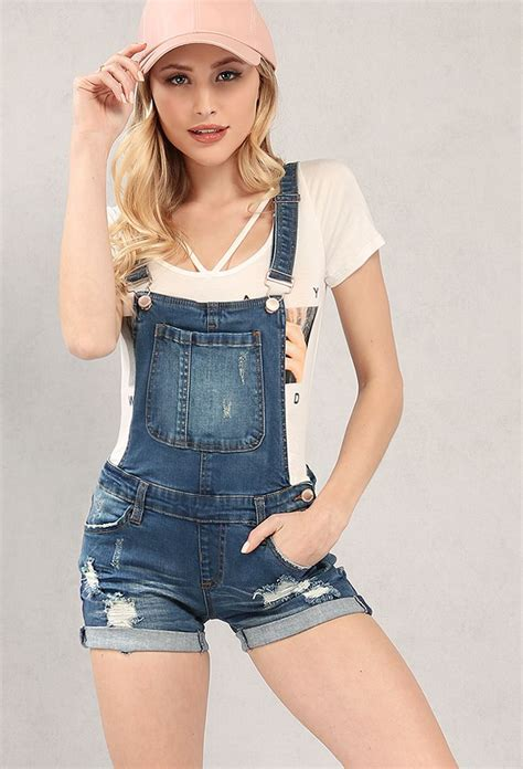 Overall Jean by Distressed Denim Overall Shorts One Done