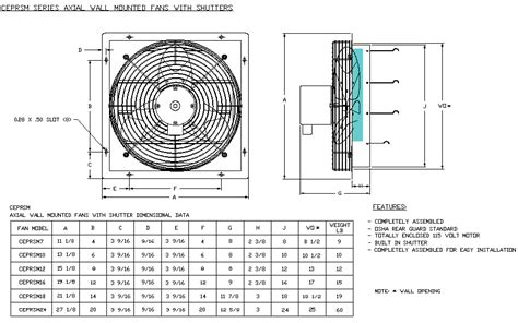 axial wall mount with shutter fan drawing