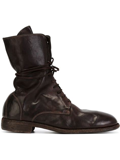 boots s lyst guidi lace up leather boots in brown for