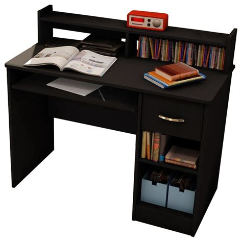 south shore axess small wood computer desk with hutch in