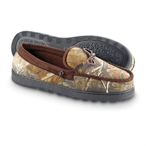 camo slippers guide gear s camo moccasin slippers realtree ap