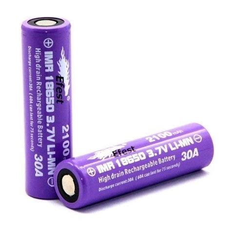 Efest Purple Imr 18650 Li Mn Battery 2100mah 37v 30a With Button Top efest purple imr 18650 li mn battery 2100mah 3 7v 30a with flat top 18650p30v2 purple