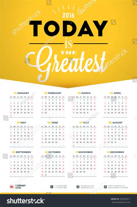 wall calendar poster 2016 year vector stock vector