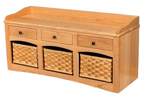 shoe bench with baskets jake s amish furniture go 6000 shoe bench with baskets