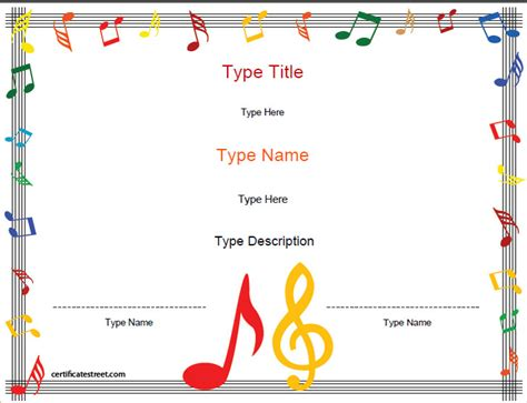 blank certificates music award certificate template