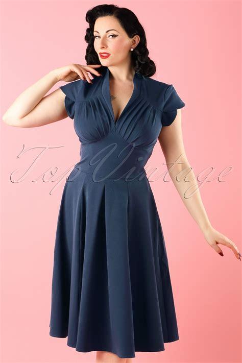 50 s swing dress 50s claudette swing dress in navy retrojurk nl