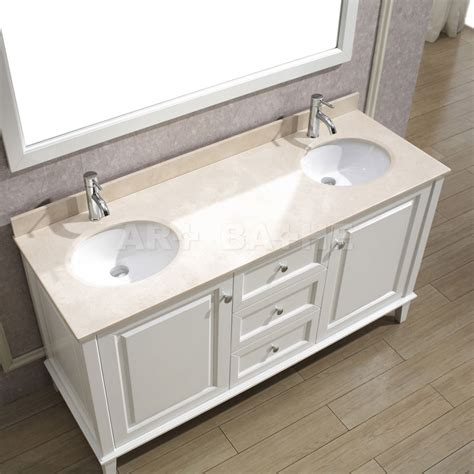 Art Bathe Lily 63 White Double Bathroom Vanity Solid Bathroom Vanities White