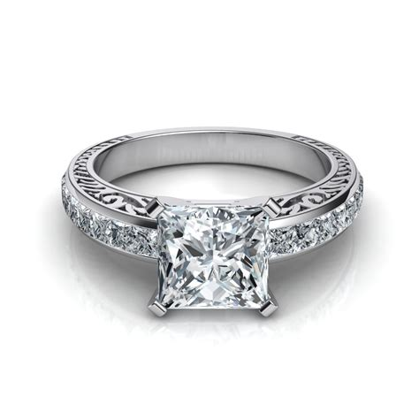 engraved vintage style princess cut engagement ring